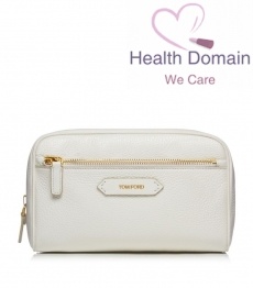 Soleil Blanc Small Leather Cosmetic Bag