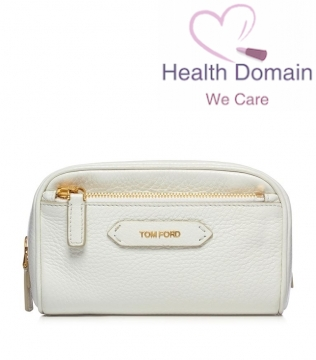 Soleil Blanc Large Leather Cosmetic Bag