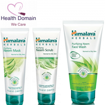 Neem Face Wash 150ml + Neem Scrub 75ml + Neem Mask 75ml- A Natural Treatment For Acne And Pimples By Himalaya Herbals