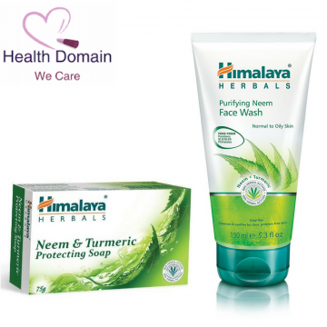 Neem And Turmeric Protecting Natural Soap 75g + Neem Face Wash 150ml By Himalaya Herbals