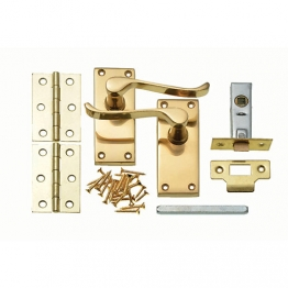 Victorian Latch Door Handles Pair Complete Set Polished Brass - 115mm