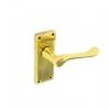 Victorian Latch Door Handles Pair Polished Brass - 115mm