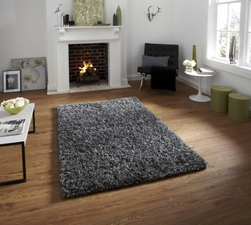 Amazon Am 10 Silver Shaggy Hand Tufted Rug - 60% Viscose 40% Wool