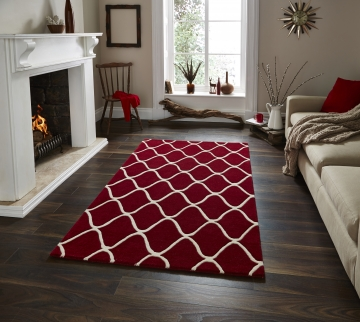 Elements El 65 Red Modern Hand Tufted Rug - 100% Wool