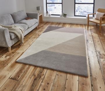 Elements El83 Beige/peach Modern Hand Tufted Rug - 100% Wool