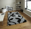 Fashion 7647 Grey/black Modern Machine Made Rug - 100% Polypropylene