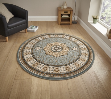 Heritage 4400 Blue Circle Traditional Machine Made Rug - 100% Polypropylene