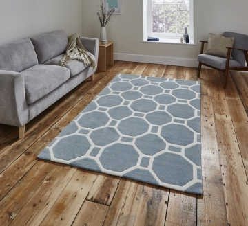 Hong Kong 4338 Light Blue Modern Hand Tufted Rug - 100% Acrylic