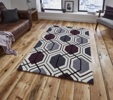 Hong Kong 7526 Cream/dark Purple Modern Hand Tufted Rug - 100% Acrylic