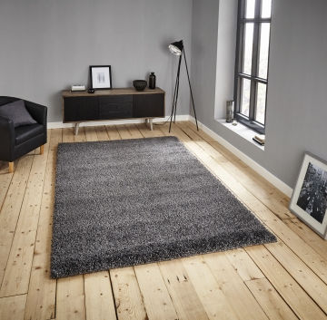 Loft 01810a Grey Shaggy Machine Made Rug - 100% Polypropylene