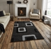 Majesty 2751 Black/grey Shaggy Machine Made Rug - 100% Polypropylene
