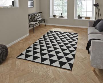 Manhattan Mh211a Black/white Flatweave Durrie Loom Woven Rug - 100% Cotton