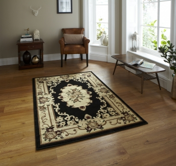 Marrakesh Black Budget Machine Made Rug - 100% Polypropylene
