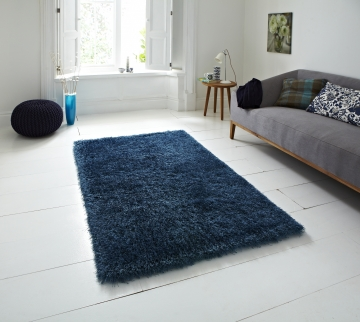 Monte Carlo Blue Shaggy Hand Tufted Rug - 60% Acrylic, 40% Viscose