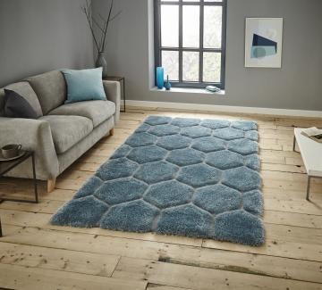 Noble House Nh30782 Blue Shaggy Hand Tufted Rug - 70% Acrylic 30% Polyester