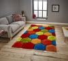 Noble House Nh30782 Multi Shaggy Hand Tufted Rug - 70% Acrylic 30% Polyester