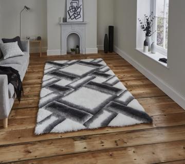 Noble House Nh9716 Grey/ivory Shaggy Hand Tufted Rug - 70% Acrylic 30% Polyester