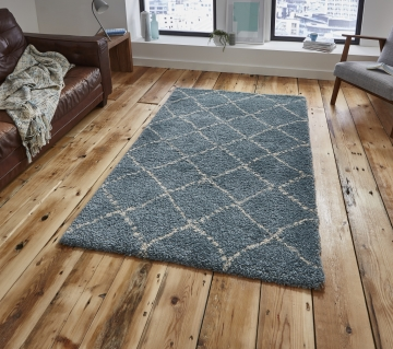 Royal Nomadic 5413 Teal/cream Modern Machine Made Rug - 100% Polypropylene