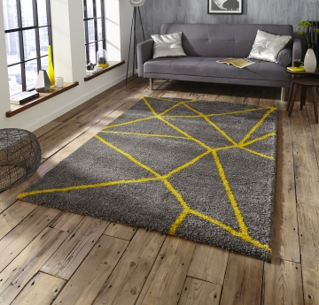 Royal Nomadic 5746 Grey/yellow Modern Machine Made Rug - 100% Polypropylene