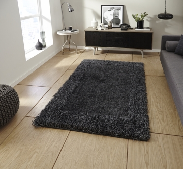 Sable 2 Charcoal Shaggy Hand Tufted Rug - 100% Viscose
