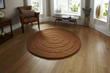 Spiral Brown Circular Hand Tufted Rug - 100% Wool