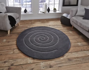Spiral Grey Circular Hand Tufted Rug - 100% Wool