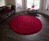 Spiral Red Circular Hand Tufted Rug - 100% Wool