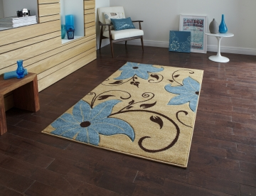 Verona Oc15 Beige/blue Floral Machine Made Rug - 100% Polypropylene