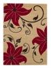 Verona Oc15 Beige/red Floral Machine Made Rug - 100% Polypropylene
