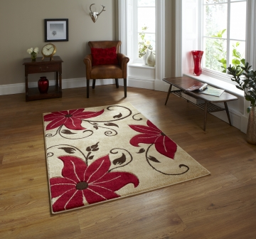 Verona Oc15 Beige/red Floral Machine Made Rug - 100% Polypropylene