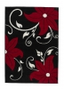 Verona Oc15 Black/red Floral Machine Made Rug - 100% Polypropylene