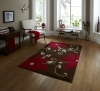 Verona Oc15 Brown/red Floral Machine Made Rug - 100% Polypropylene