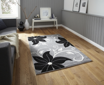 Verona Oc15 Grey/black Floral Machine Made Rug - 100% Polypropylene