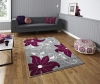 Verona Oc15 Grey/purple Floral Machine Made Rug - 100% Polypropylene