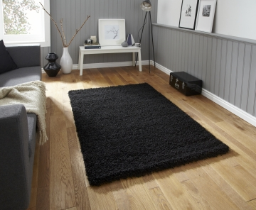 Vista 2236 Black Shaggy Machine Made Rug - 100% Polypropylene
