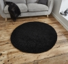 Vista 2236 Black Circle Shaggy Machine Made Rug - 100% Polypropylene