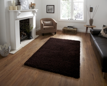 Vista 2236 Brown Shaggy Machine Made Rug - 100% Polypropylene