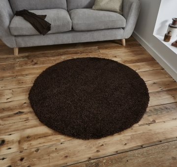 Vista 2236 Brown Circle Shaggy Machine Made Rug - 100% Polypropylene