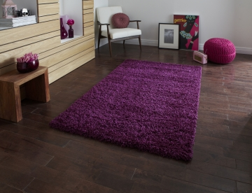 Vista 2236 Purple Shaggy Machine Made Rug - 100% Polypropylene