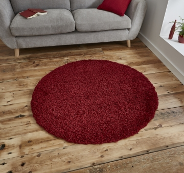 Vista 2236 Red Circle Shaggy Machine Made Rug - 100% Polypropylene