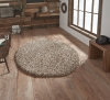 Vista 3547 Beige Circle Shaggy Machine Made Rug - 100% Polypropylene